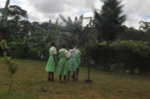 Girls playing netball at Ntawo.
